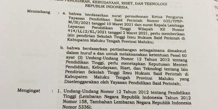 Sekolah Tinggi Ilmu Hukum Said Perintah di Kabupaten Maluku Tengah Resmi Mendapat Izin Operasional dari Kemendikbudristek.